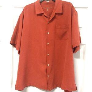 Tommy Bahama 100% silk Short sleeve shirt orange